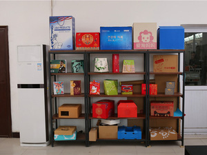 纸箱厂彩色礼盒展示区